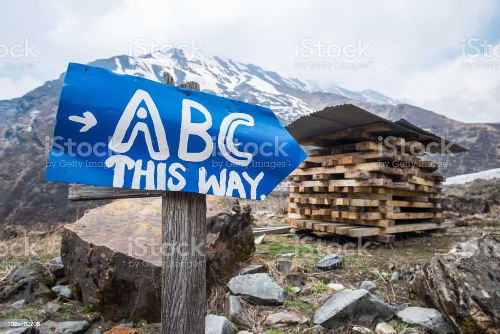 The signpost leading the way to ABC (Annapurna basecamp) in Himalayas mountains range, Nepal. stock photo