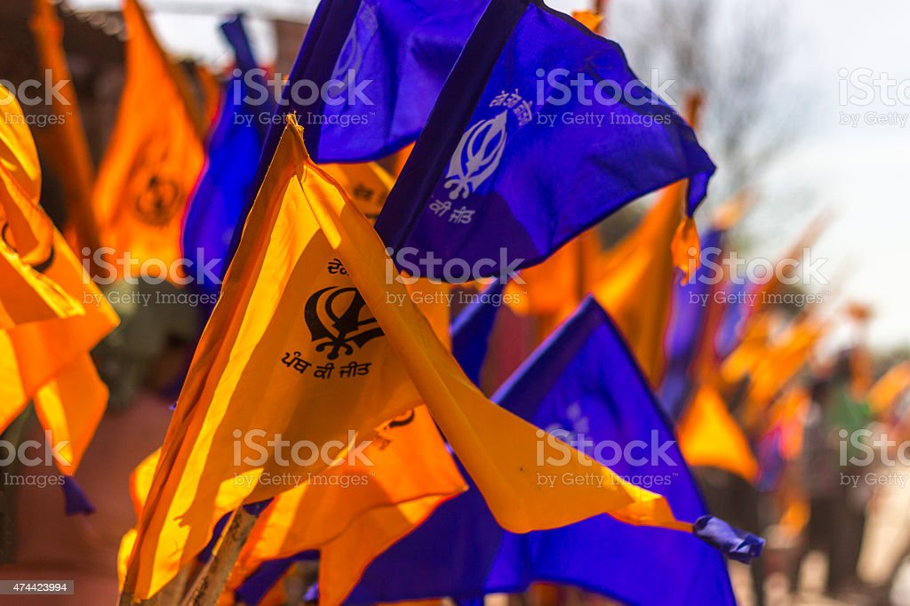 The Sikh Flag, Hola Mohalla, Anandpur Sahib, Punjab, India stock photo