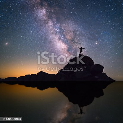 The silhouette and reflection of the Milky way and a lonely man