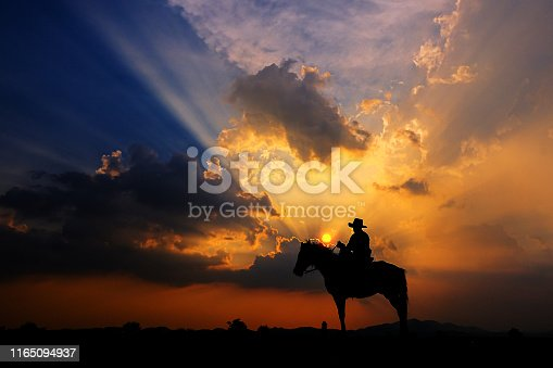 The silhouette of a cowboy on horseback at sunset on a  background