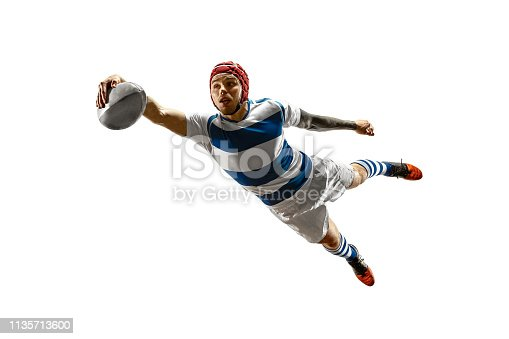 istock The silhouette of one caucasian rugby male player isolated on white background 1135713600