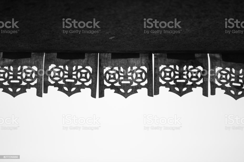the Silhouette of Red banners  on top of door frame stock photo