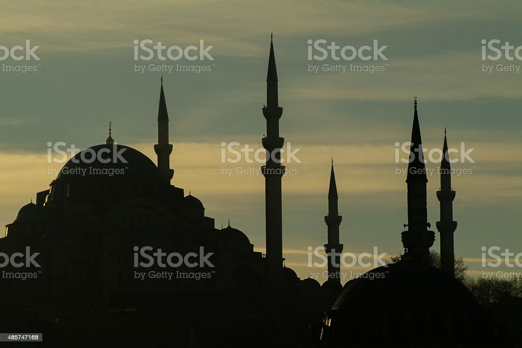 The Silhouette of Suleymaniye Mosque stock photo