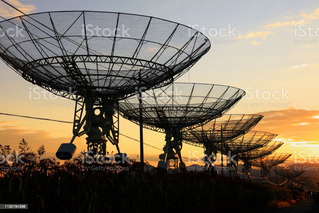 the silhouette of the radio telescope stock photo