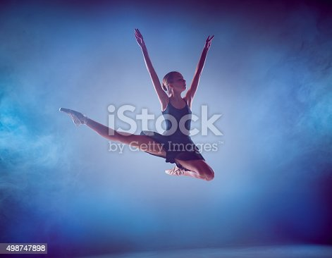 istock The silhouette of young ballet dancer jumping on a blue 498747898