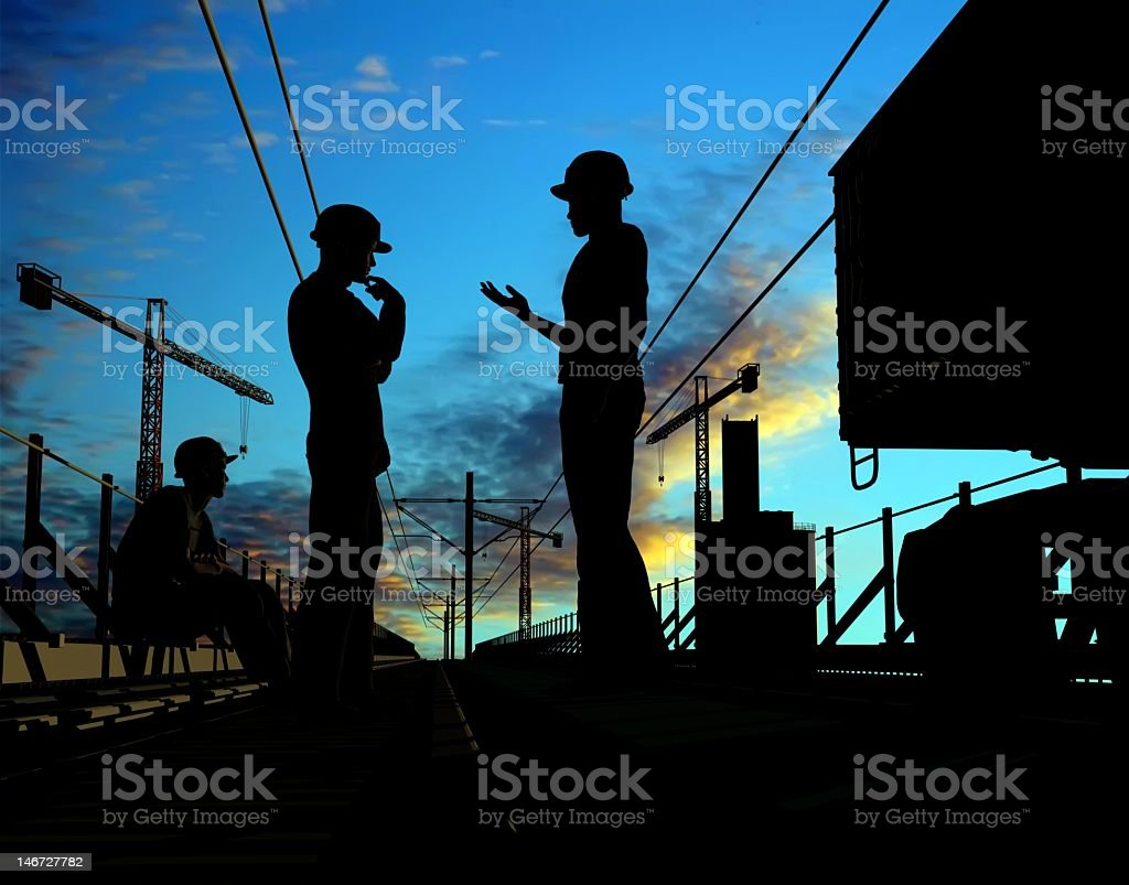 The silhouettes of a group of workers royalty-free stock photo