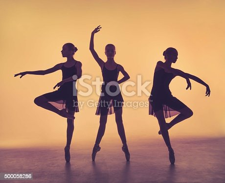 istock The silhouettes of young ballet dancers posing on a gray 500058286