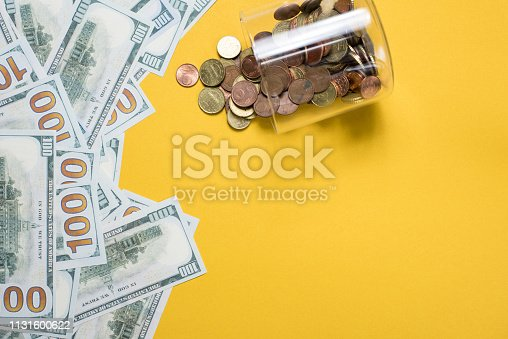 The silver picture is placed on a yellow background. Success, business concept With copy space