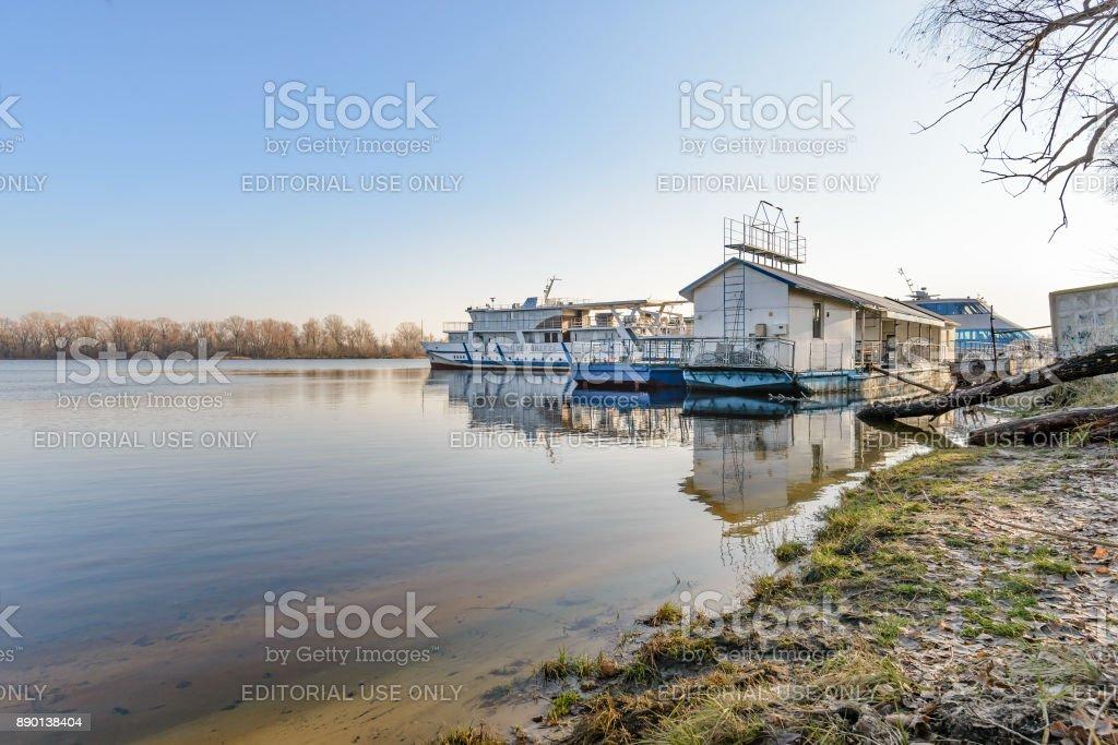 The Silverbridge boat on the Dnieper in Kiev stock photo
