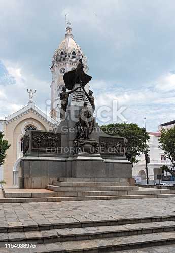 panama city, panama - march 03, 2019: the simon bolivar monument and san francisco de asis church in casco viejo