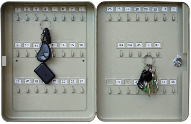the simple  open gray metal  case  box for a car and rooms  keys. isolated with patch - schlüsselkasten weiß stock-fotos und bilder