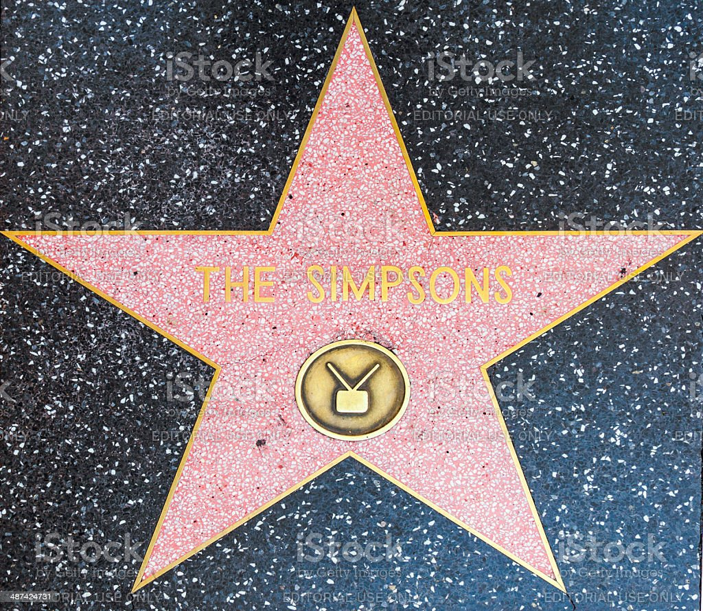 The Simpsons star on Hollywood Walk of Fame stock photo