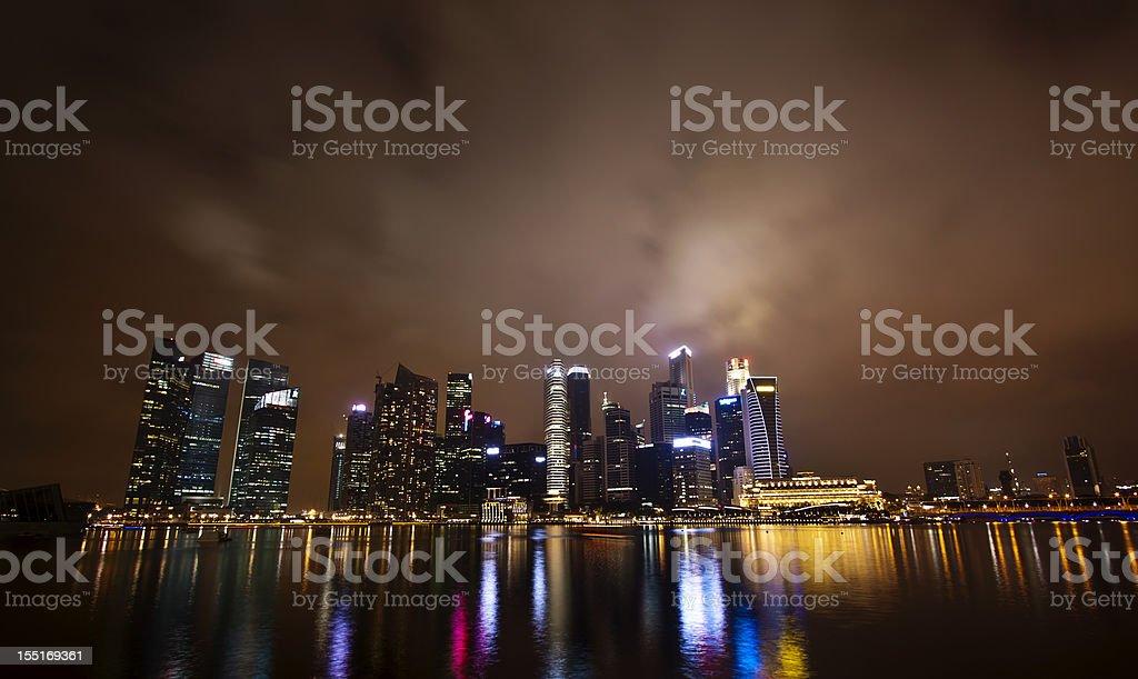 The Singapore skyline at night royalty-free stock photo