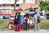Singapore-12 MAR 2020:the singapore traditional ice cream vendor on road side