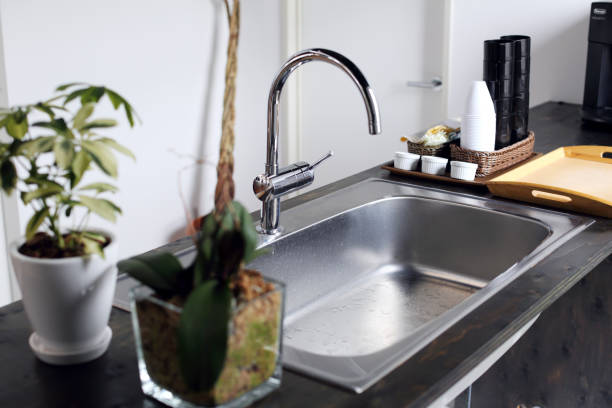 the sink which was installed in the office - kitchen sink stock photos and pictures