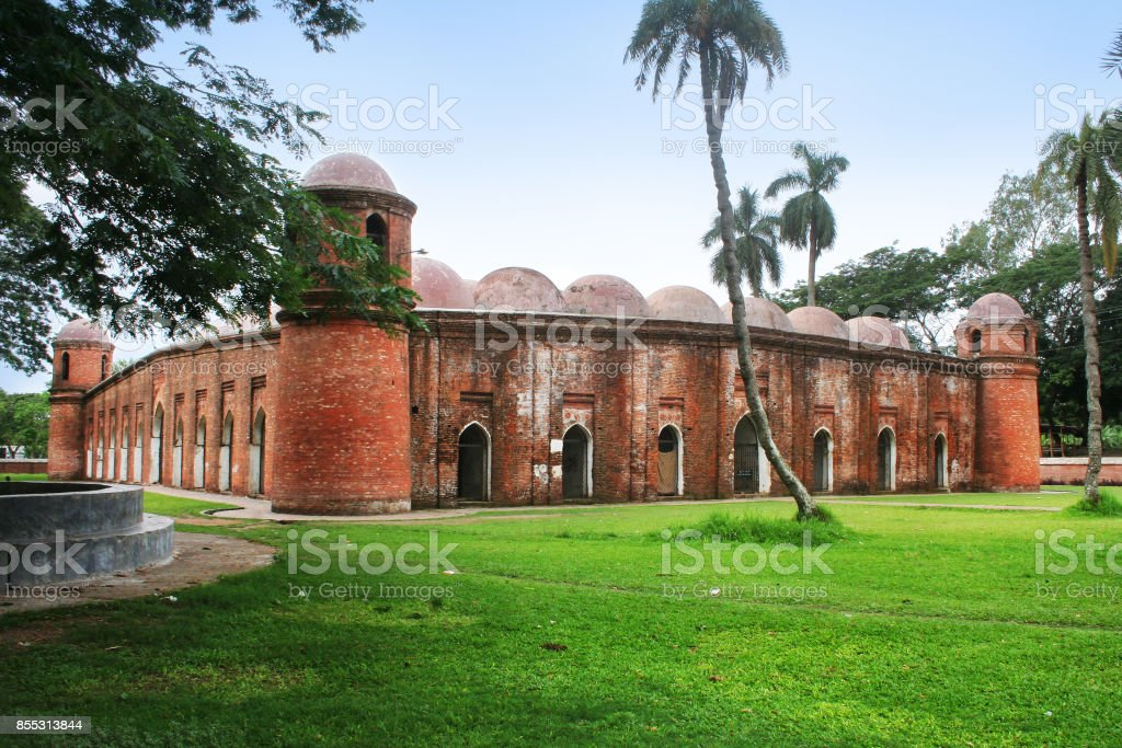 The Sixty Dome Mosque stock photo