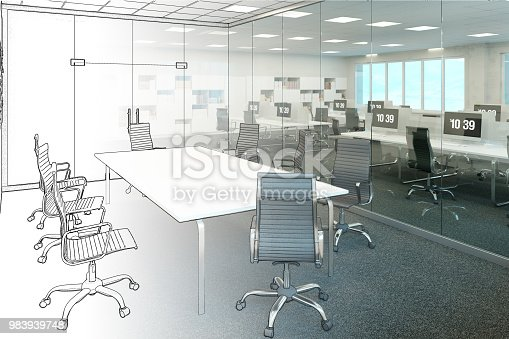 istock The sketch becomes a real office 983939748