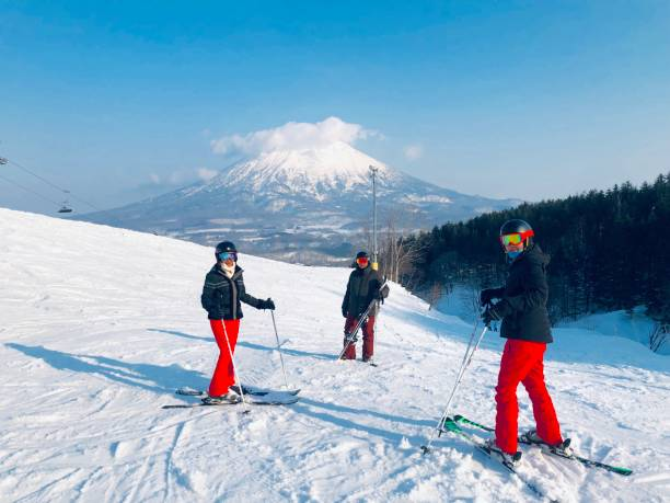 The ski slope of Niseko Mt. Resort Grand Hirafu at Niseko, Hokkaido,Japan stock photo