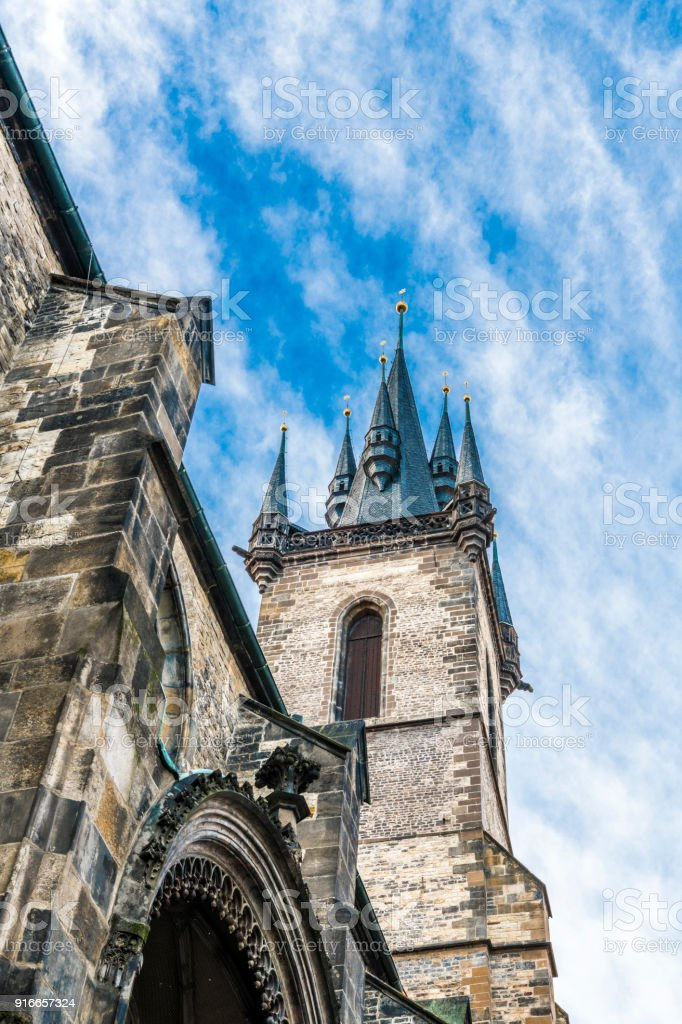 The sky above the towers of old Prague stock photo