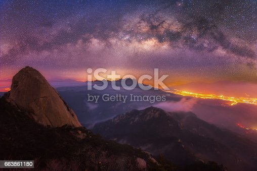 962814924 istock photo The sky and the Milky Way of bukhansan national park mountain in seoul,Korea 663861180