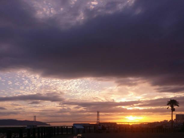 秋の夕暮れ時の空。 ストックフォト