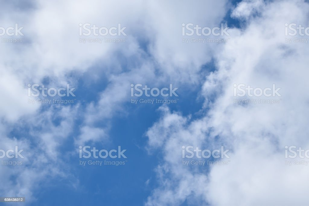 The sky in the mostly cloudy day. stock photo