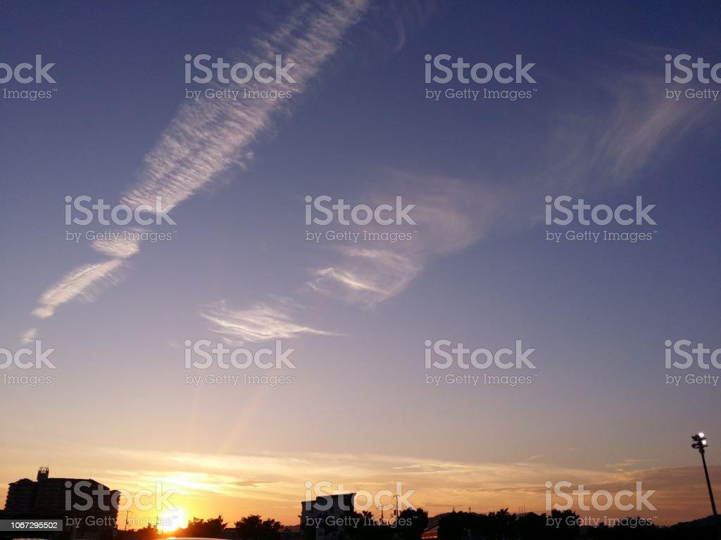 夕方の雲の空 ストックフォト