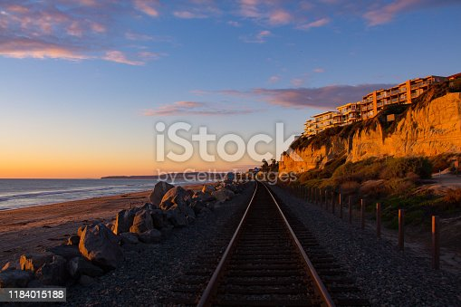 The railroad tracks and a sunset view of Southern Pacific Sunset in San Clemente.