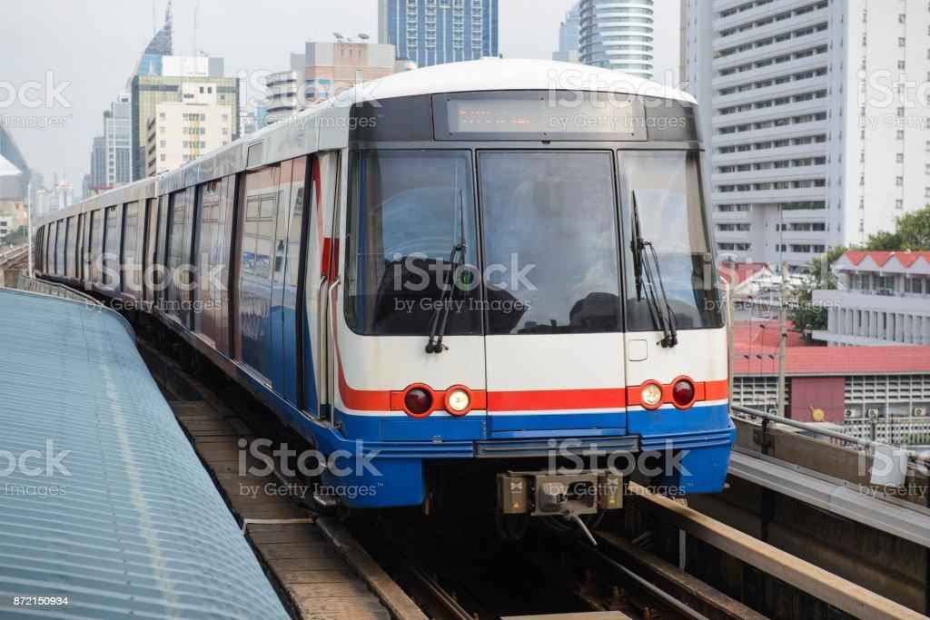 The sky train in bangkok stock photo