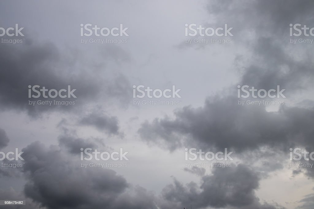 The sky was overcast and dark clouds before the storm comes, or before it rained stock photo