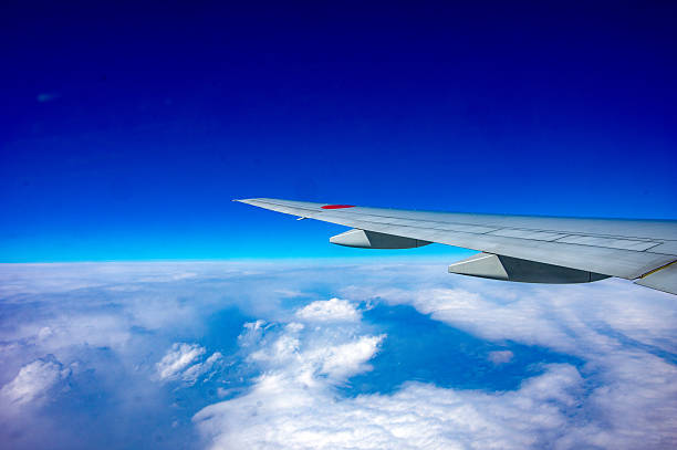 The sky was taken from an airplane. stock photo