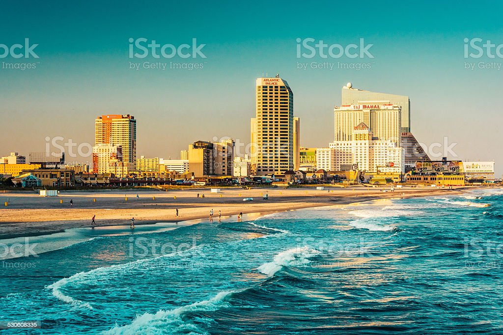 The skyline and Atlantic Ocean in Atlantic City, New Jersey. stock photo