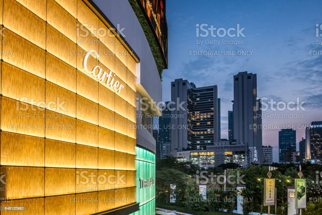 The Skyline In Bangkok With Luxury Shop Logos Visible stock photo