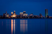 Buffalo, New York, USA - March 30 2018: The skyline at sunset seen from the canadian side