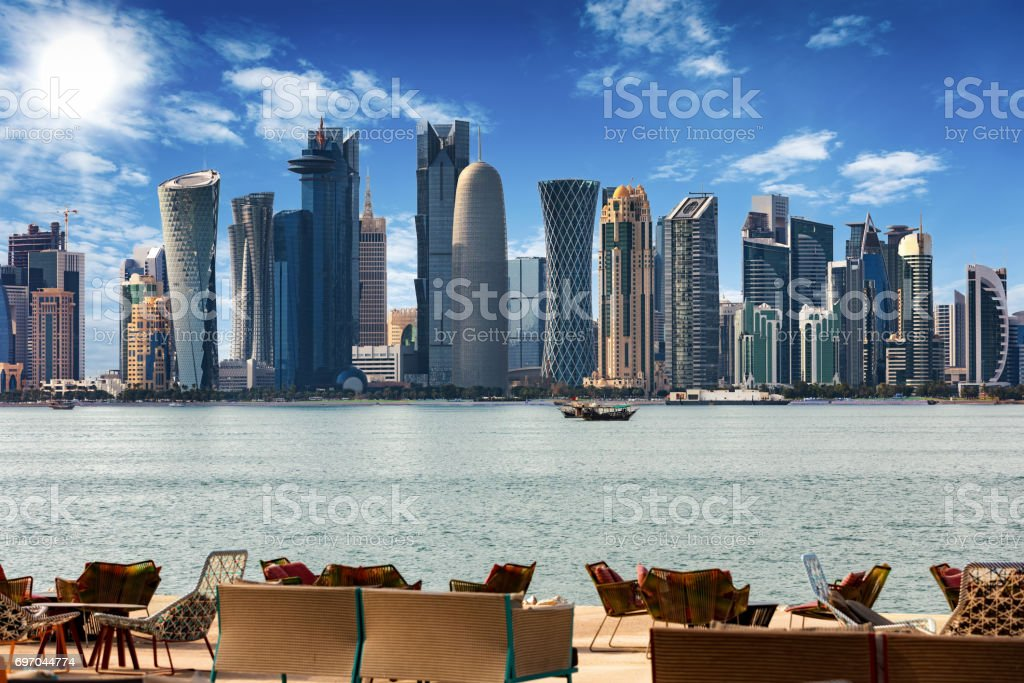 The Skyline of Doha at noon stock photo