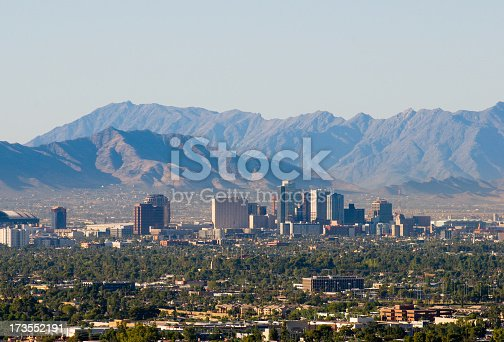 Downtown Phoenix skyline with the South and Sierra Estrella mountain ranges in the background