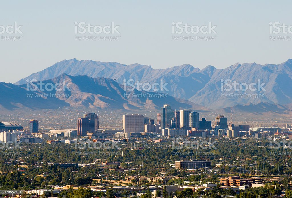 The skyline of downtown Phoenix, Arizona stock photo