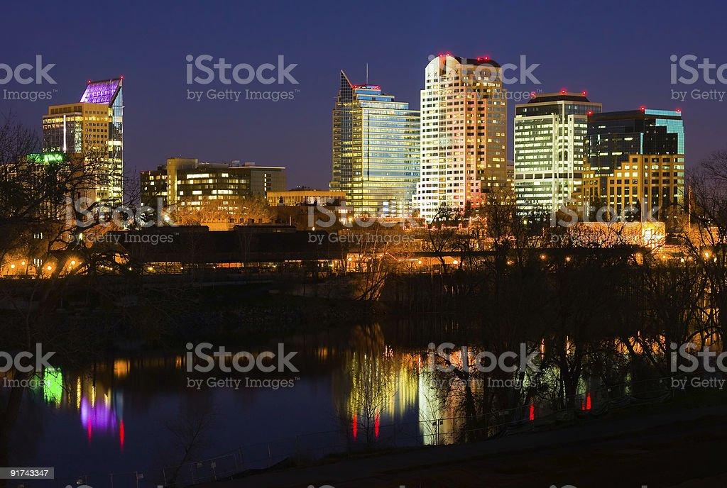 The skyline of downtown Sacramento at night stock photo