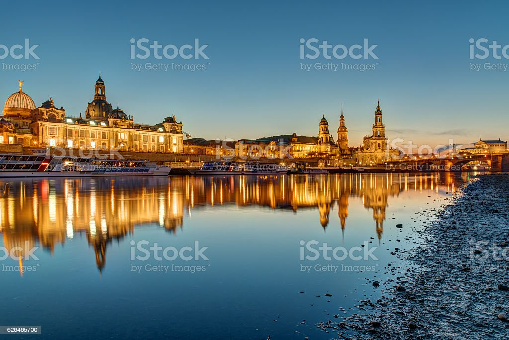 The skyline of Dresden in Germany at dawn stock photo