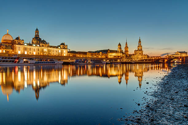 The skyline of Dresden in Germany at dawn The famous skyline of Dresden in Germany at dawn zwanger stock pictures, royalty-free photos & images