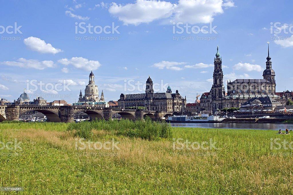 The skyline of Dresden stock photo