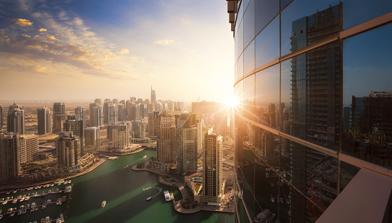 The skyline of Dubai Marina at sunset
