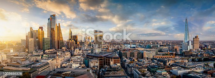 istock The skyline of London, United Kingdom, during sunset time 1203935328