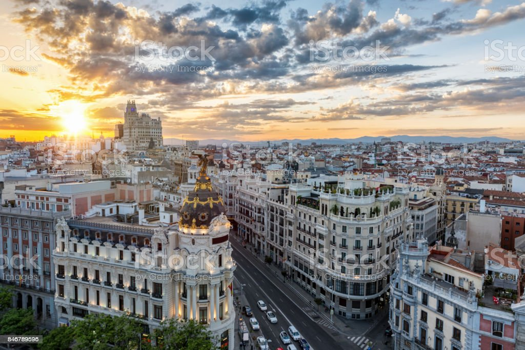 The skyline of Madrid, Spain stock photo