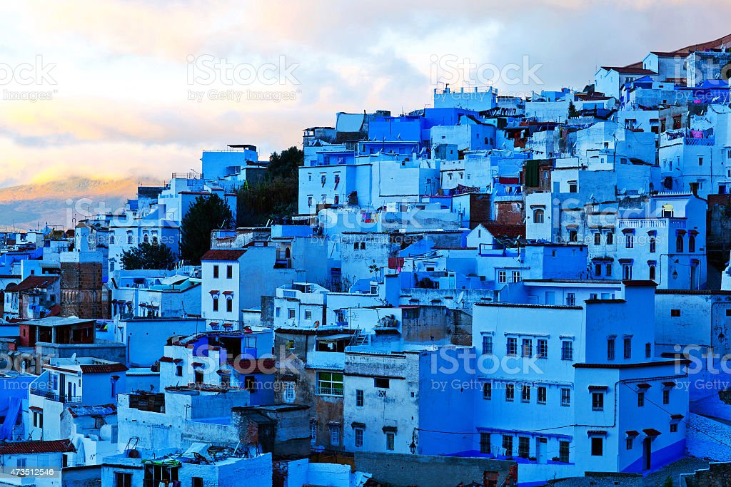 The skyline of Medina of Chefchaouen late in the day stock photo