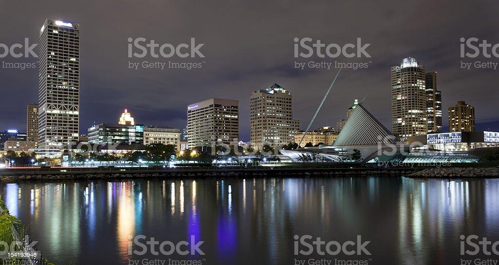 The skyline of Milwaukee Wisconson stock photo