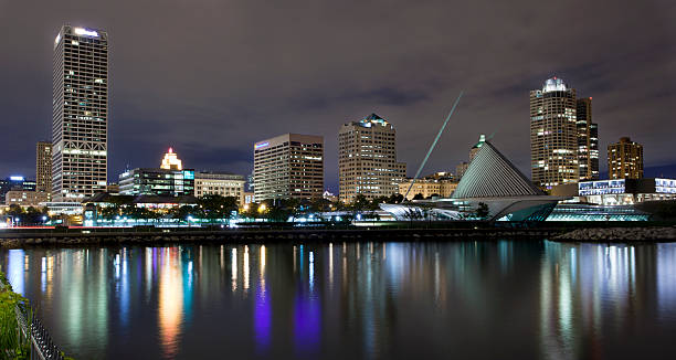 The skyline of Milwaukee Wisconson Downtown  Milwaukee Wisconsin at night,  view from the lake. milwaukee wisconsin stock pictures, royalty-free photos & images