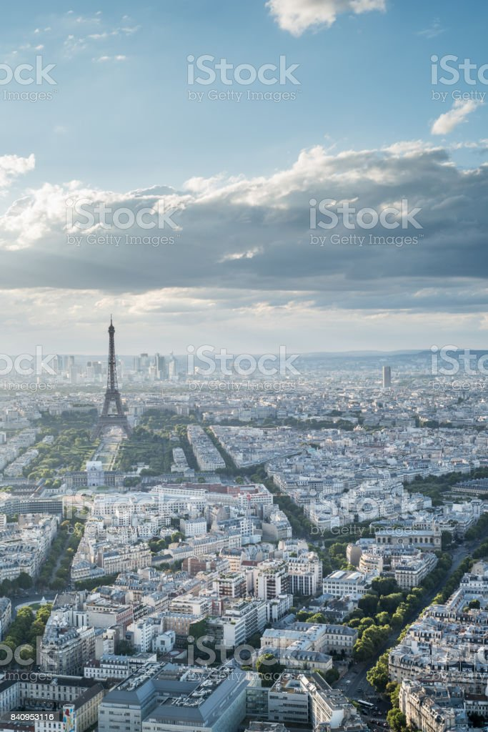 The Skyline Of Paris France with the Eiffel Tower at sunset stock photo