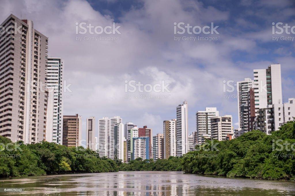 The skyline of Recife in Pernambuco, Brazil from river stock photo