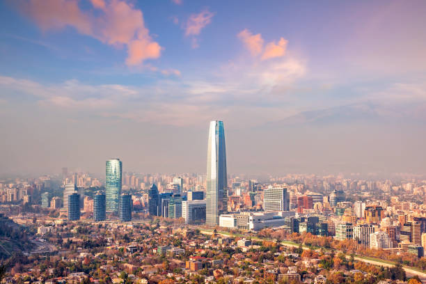 The skyline of Santiago in Chile stock photo